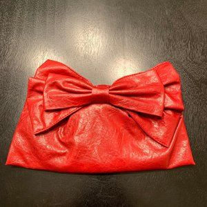 Big Buddha Bailey Red Big Bow Clutch